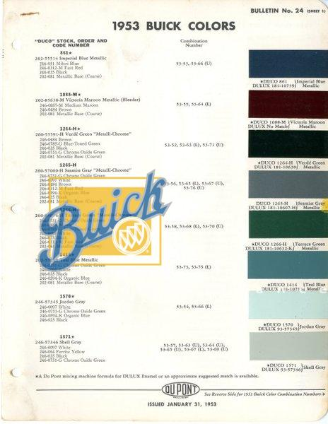 1953 Buick Colors